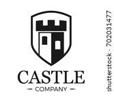castle logo tower in shield.... | Shutterstock .eps vector #702031477