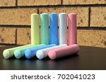 chalks of five different colors ...   Shutterstock . vector #702041023