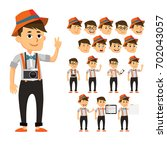 handsome hipster smiling boy in ... | Shutterstock .eps vector #702043057