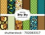 cute set of childish seamless...   Shutterstock .eps vector #702083317