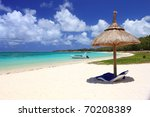 chairs and umbrella on tropical ... | Shutterstock . vector #70208389