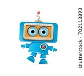 vector funny cartoon blue robot ... | Shutterstock .eps vector #702113893