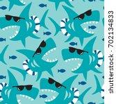 seamless shark pattern vector... | Shutterstock .eps vector #702134833