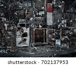 old home after fire and burned... | Shutterstock . vector #702137953