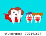 super mom with family  tooth... | Shutterstock .eps vector #702141637