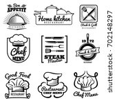 restaurant vector vintage logo. ... | Shutterstock .eps vector #702148297