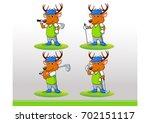 elk golf logo character v1 | Shutterstock .eps vector #702151117