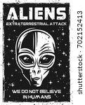 vintage poster with alien head...   Shutterstock .eps vector #702152413