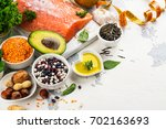 low cholesterol food. healthy... | Shutterstock . vector #702163693