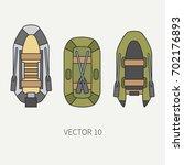 line flat color vector fisher... | Shutterstock .eps vector #702176893
