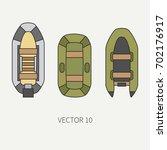 line flat color vector fisher...   Shutterstock .eps vector #702176917