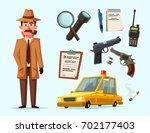 funny detective character.... | Shutterstock .eps vector #702177403