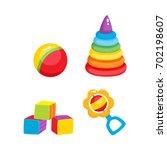 set of vector baby toys in flat ...   Shutterstock .eps vector #702198607