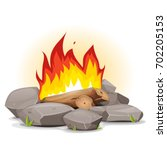 campfire with burning flames ... | Shutterstock .eps vector #702205153