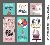 set of greetings cards.... | Shutterstock .eps vector #702210367