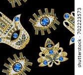 hamsa  all seeing eye and lotus ...   Shutterstock .eps vector #702223573
