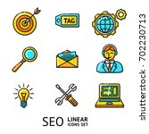 vector set of seo linear icons  ... | Shutterstock .eps vector #702230713