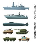 warships and armored vehicles... | Shutterstock .eps vector #702243307
