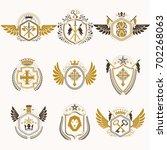 heraldic decorative emblems... | Shutterstock . vector #702268063