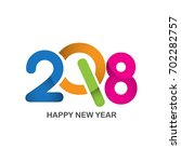 happy new year 2018  text...   Shutterstock .eps vector #702282757