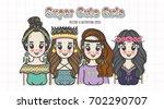 cute bohemian girl doodles | Shutterstock .eps vector #702290707