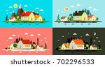flat design buildings. night... | Shutterstock .eps vector #702296533