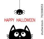 happy halloween. black cat face ... | Shutterstock .eps vector #702308053