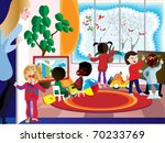 a group of children engaged in... | Shutterstock .eps vector #70233769