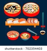 vector food  japanese food  ... | Shutterstock .eps vector #702354403
