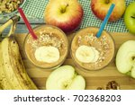 apple smoothie. fruity... | Shutterstock . vector #702368203
