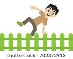 cartoon character  boy jumping... | Shutterstock .eps vector #702372913