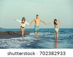 group of friends together on... | Shutterstock . vector #702382933