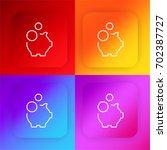 piggy bank four color gradient...