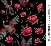 crane bird  flowers  rose