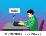 the guy is sitting at the... | Shutterstock .eps vector #702406273
