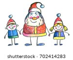 santa claus with small children ... | Shutterstock . vector #702414283