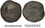 Small photo of Italy Italian Sicilia Sicilian silver coin 1 one scudo 1611, ruler Philip III, bust right, diamond shape shield with eagles and stripes, crown above, coarse die, double die