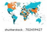 world map political blue orange ... | Shutterstock .eps vector #702459427