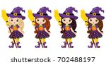 vector cute little witches with ... | Shutterstock .eps vector #702488197