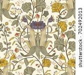 vector floral vintage seamless... | Shutterstock .eps vector #702492013