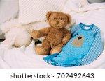 funny soft toy teddy bear near...   Shutterstock . vector #702492643