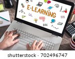 e learning concept shown on a... | Shutterstock . vector #702496747