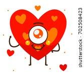 geometric monster  red heart ... | Shutterstock .eps vector #702508423