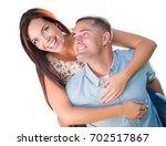 mixed race romantic military... | Shutterstock . vector #702517867