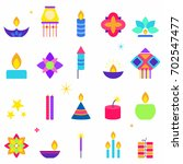 diwali celebration icons set ... | Shutterstock .eps vector #702547477