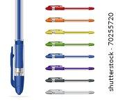 Ballpoint Pens On A White...