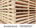 Wood Pallet Stack In Factory.