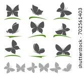 butterflies set. vector | Shutterstock .eps vector #702561403