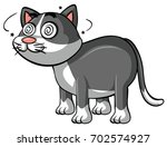 gray cat with dizzy eyes... | Shutterstock .eps vector #702574927