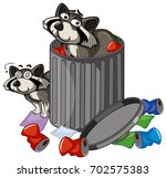 two racoons in trashcan... | Shutterstock .eps vector #702575383